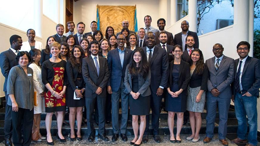 President Kagame with Wharton Business School students at Village Urugwiro in Kigali yesterday. The 30-member delegation of students is in the country to learn about Rwanda's recovery and development after the 1994 Genocide against the Tutsi.  (Village Urugwiro)