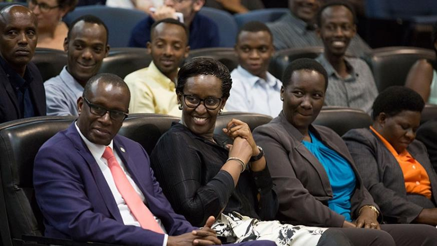 First Lady Mrs. Jeannette Kagame, Hon. Julienne Uwacu - Minister of Sports and Culture (right) and Dr Jean Damascene Bizimana - Executive Secretary of the National Commission for the Fight Against Genocide - CNLG (left) at the second Kwibuka23 Cafe Litteraire.
