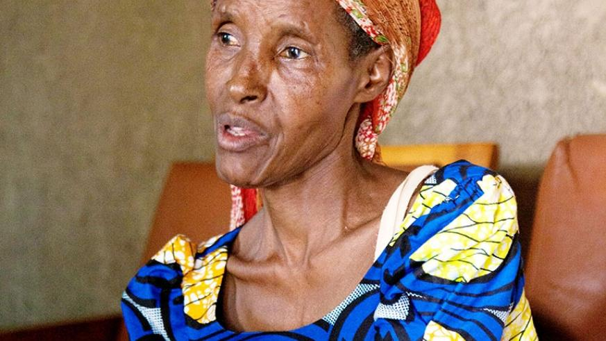 Hellenah Mukansigaye talks about her horrific ordeal during the 1994 Genocide against the Tutsi. She mostly relies on her 22-year-old son for mobility. (File)