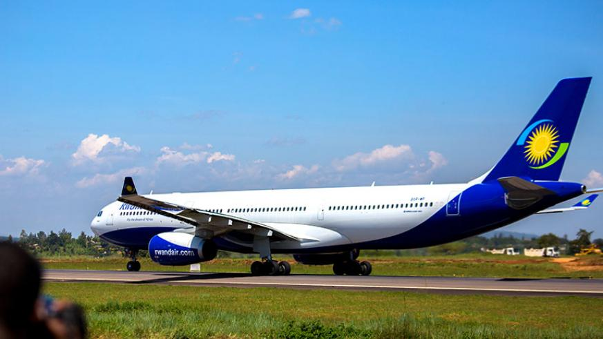 RwandAir's maiden flight to London on the runway just before take-off. The airline will ply the London route three times a week. / Timothy Kisambira