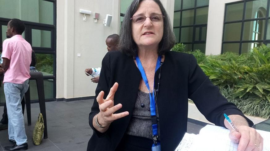 Dr Sara Scherr, EcoAgriculture Partners president and CEO, speaks to Sunday Times on why agroforestry is important in efficient land use, in Kigali last week. Emmanuel Ntirenganya.