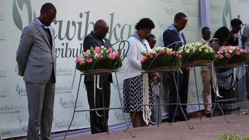 City of Kigali officials pay tribute to the 1994 Genocide against the Tutsi victims at Kigali Genocide Memorial on Saturday. Steven Muvunyi.