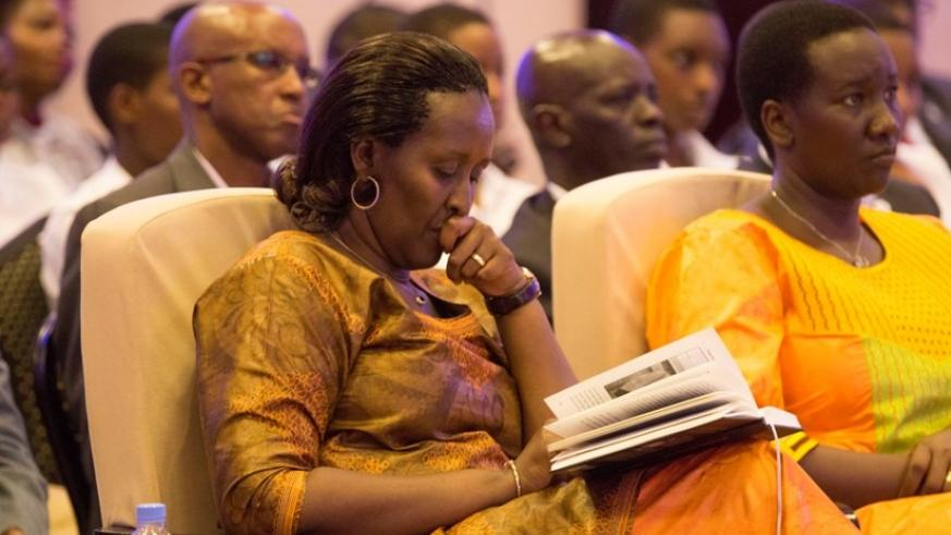 First Lady Mrs Jeannette Kagame, Hon Uwacu Julienne - Minister of Sports and Culture at 'My Son It Is A Long Story' book launch. (Courtesy)