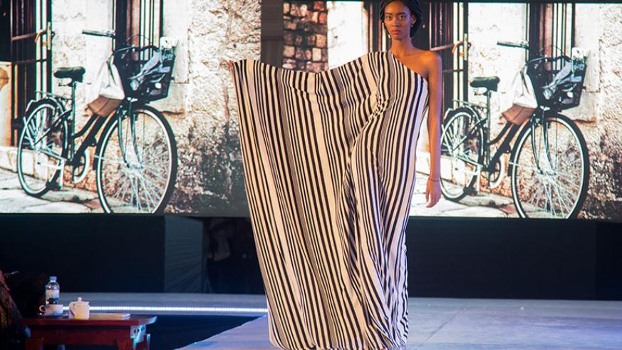 A model in a piece from Inkanda Designs during the Kigali Fashion Week finale on Saturday. / Photos: Faustin Niyigena
