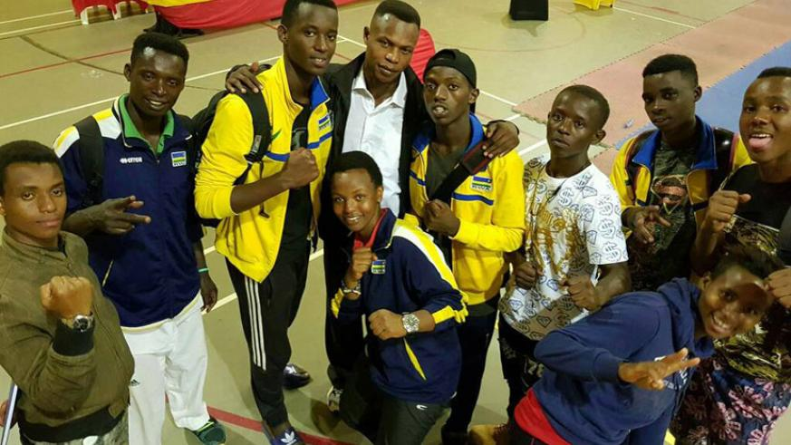 The national taekwondo team poses for a group photo in high spirits after scooping seven gold medals at Uganda Ambassador's Cup that concluded on Sunday. / Courtesy