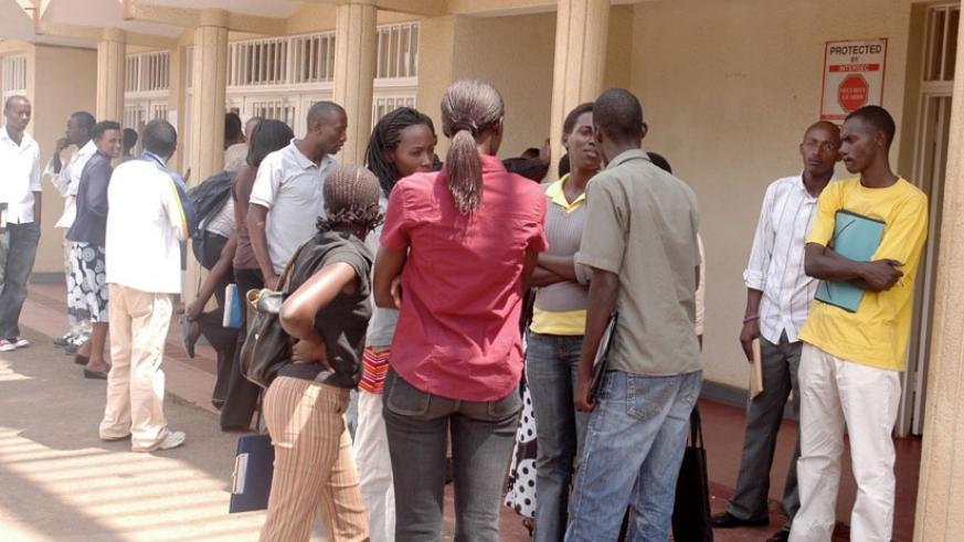 Students outside FARG offices in Remera, Kigali. (File)