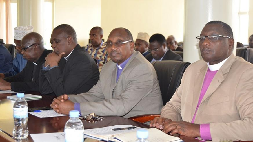 Religious leaders in Eastern Province during the meeting in Rwamagana. (Photos by Kelly Rwamapera)
