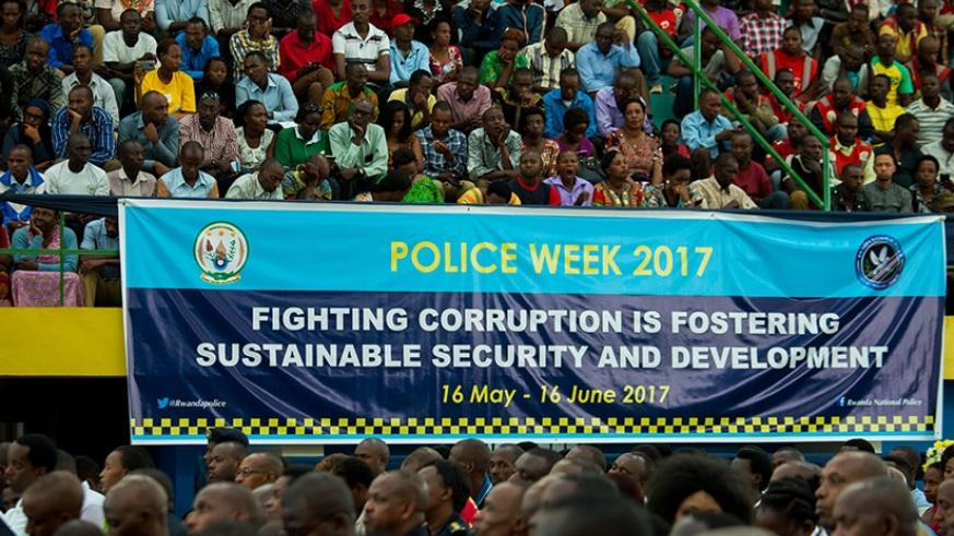 Participants follow proceedings during the launch of the Anti-Corruption Week in Kigali yesterday. (Timothy Kisambira)