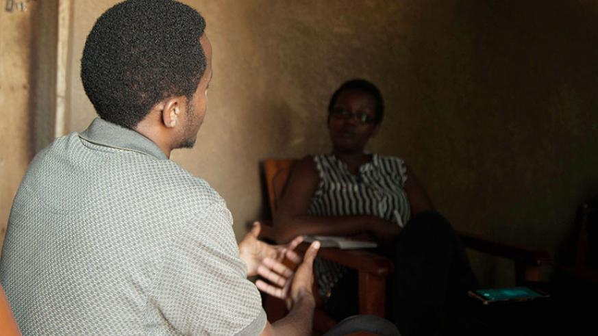 One of the children born to a survivor as a result of rape during the Genocide against the Tutsi (L) in a recent interview with The New Times' Nasra Bishumba. / File
