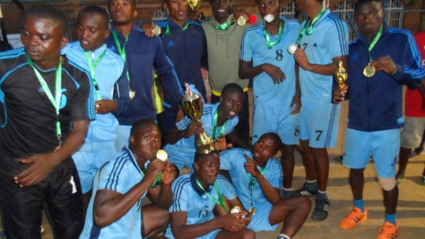 The Police handball team after they were crowned champions of the Genocide Memorial tournament yesterday. Courtesy photo