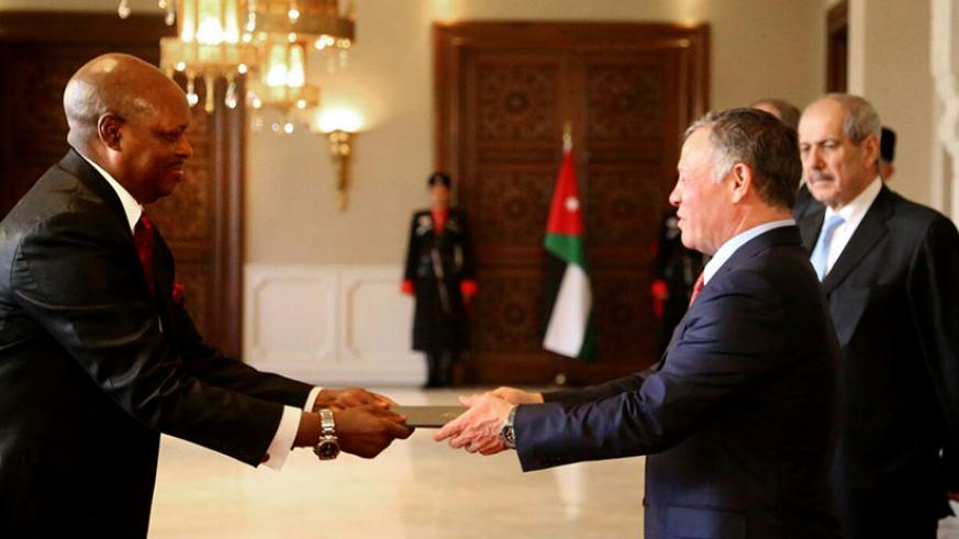 Ambassador Nkurunziza presenting his letters of credence to His Majesty the King Abdullah  II Bin Al-Hussein (Courtesy photos)
