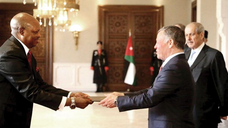 Ambassador Nkurunziza presenting his letters of credence to His Majesty the King Abdullah II