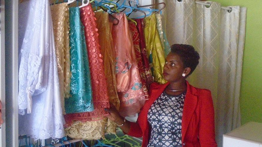 Uwizeye in her store at Gisementi. She started the business using her own savings. / Lydia Atieno.