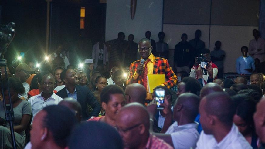 Teacher Mpamire (with the  microphone) closed the night with his tongue-twisters and academic jargon that left revellers in tears of joy. Nadege Imbabazi.