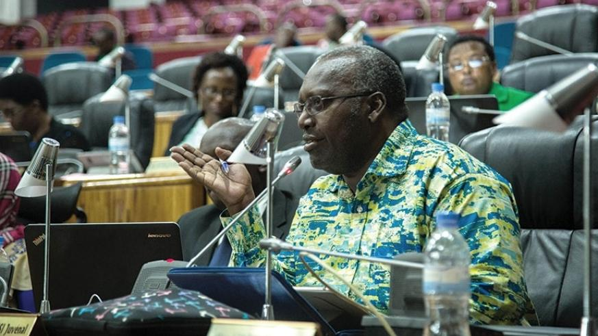 Hon. Juvenal Nkusi speaks during the session in parliament yesterday. Nadege Imbabazi