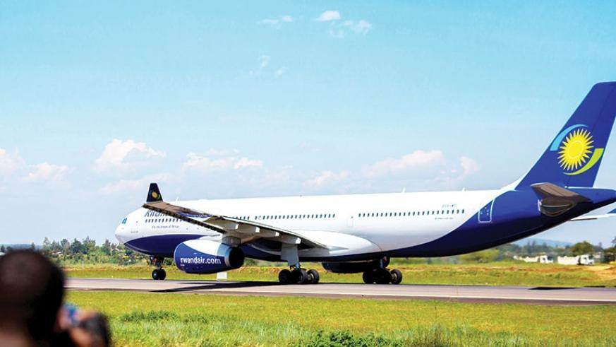 RwandAir's Airbus A330-300 on the runway. African airlines are projected to register 7.5% growth in the number of passengers carried this year, IATA's revised forecast indicates. (File)