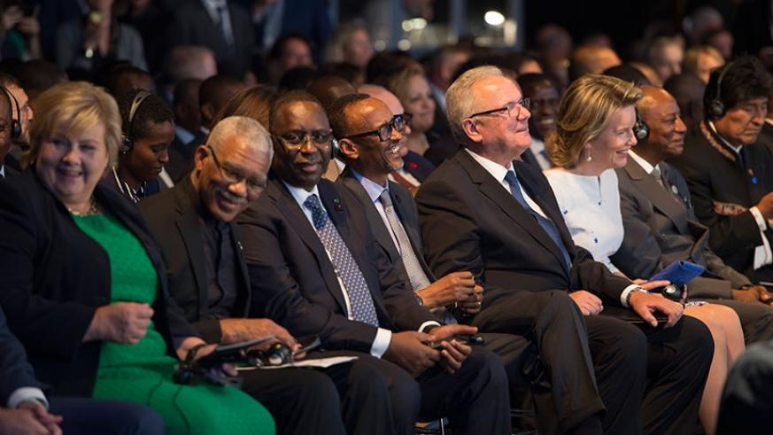 President Kagame (centre) at the opening ceremony of the European Development Days summit in Brussels, Belgium, yesterday. With him are other leaders, from left to right, Norwegian Prime Minister Erna Solberg, Guyana President David A. Granger, Senegalese President Macky Sall, EU Commission president Jean-Claude Juncker, Queen Maxime of the Kingdom of the Netherlands, and Guinean President Alpha Conde. (Village Urugwiro)