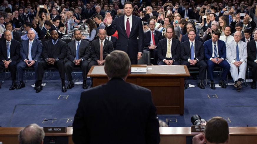"""""""Those were lies, plain and simple,"""" James B. Comey, the former F.B.I. director, told the Senate Intelligence Committee on Thursday, discussing White House explanations for his firing. / Internet photo"""