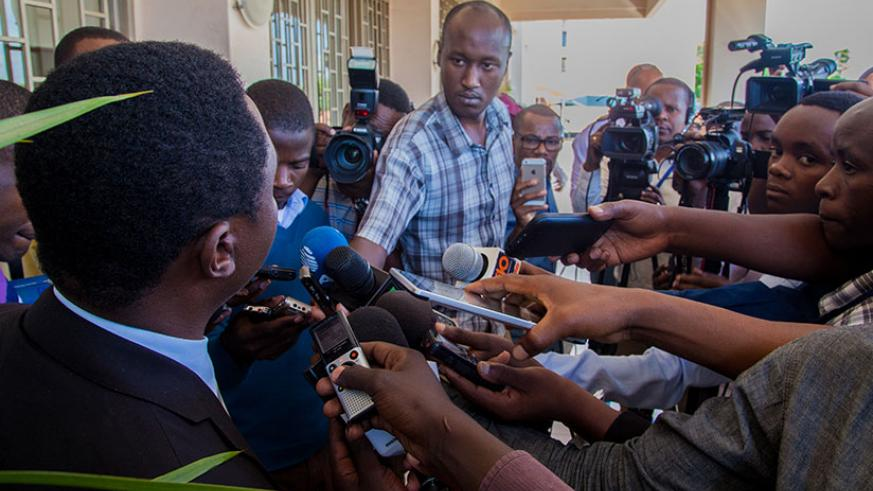 Rwandan media practitioners during an interview at a past event. / File