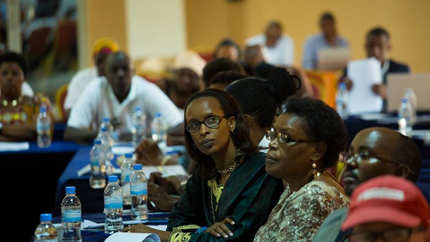 Members of civil society organisations at the consultative meeting in Kigali, yesterday. / Timothy Kisambira