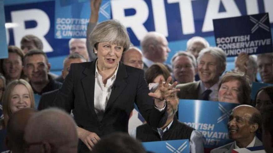 Britain's Prime Minister Theresa during campaigns