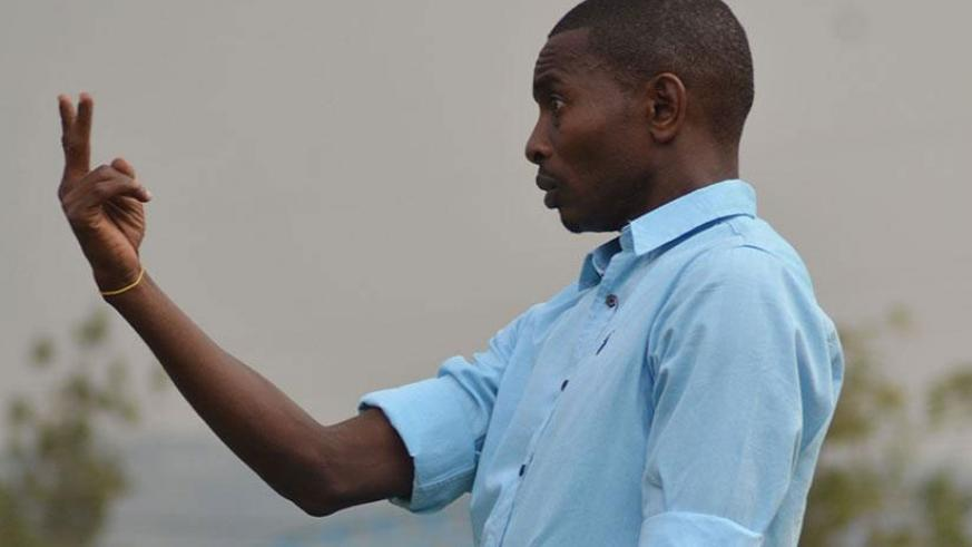 Rayon Sports head coach Djuma Masudi gestures on the touchline during a past match. File.