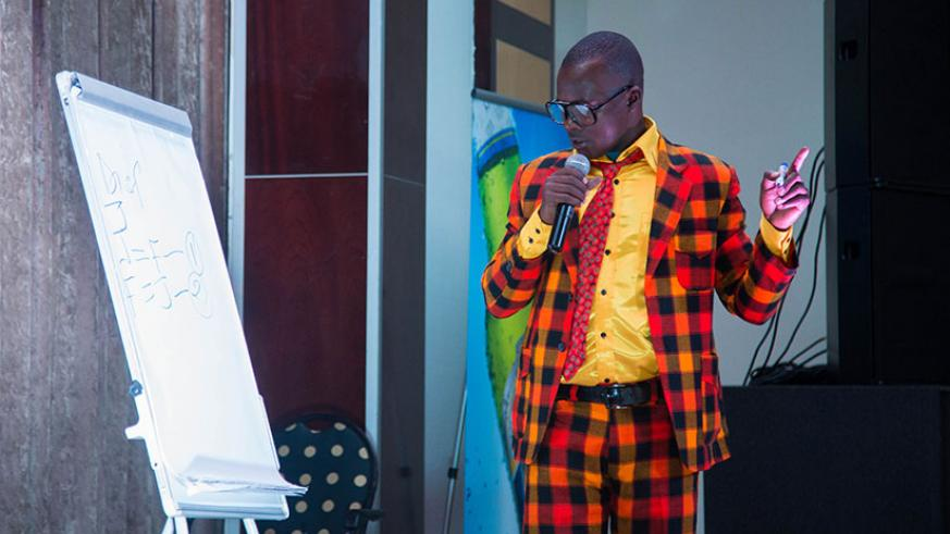 Teacher Mpamire during the recent 'Seka live edition 2'. / Nadege Imbabazi