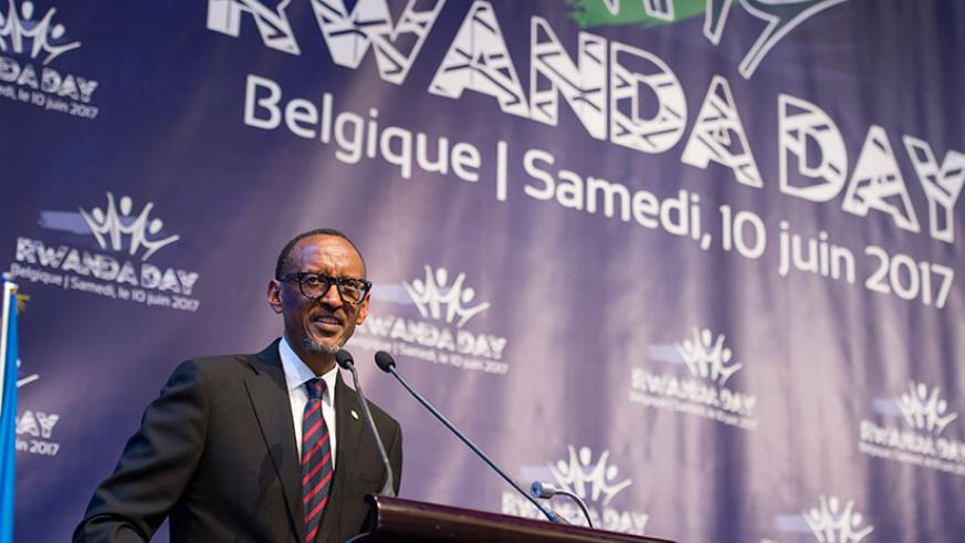 President Kagame speaks during Rwanda Day yesterday in Gent, Belgium. The President told the Rwandan Diaspora to contribute to the development of the country. / Village Urugwiro