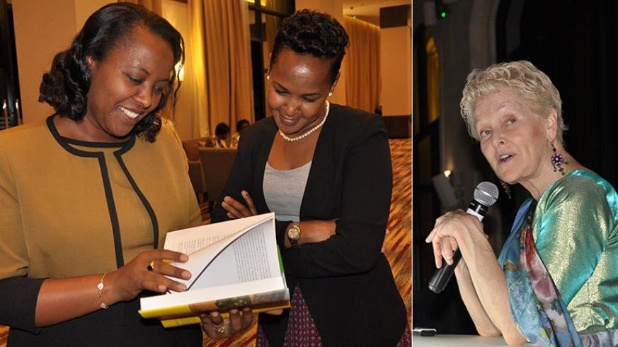 """Gender and Family Promotion minister Esperance Nyirasafari (L) and Rosemary Mbabazi, the permanent secretary at the Ministry of Trade, Industry and EAC Affairs, skim through American diplomat Swanee Hunt's book, """"Rwandan Women Rising"""", at the launch in Kigali on Friday. In the book, Amb. Hunt (inset) tells of Rwanda's transformation through heartbreaks and the victories of women preaching equality, justice, and opportunity through the darkest moments. / Steven Muvunyi"""
