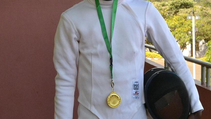 Patience Ndawumungu won gold in this year's Genocide memorial fencing tournament. / Jejje Muhinde