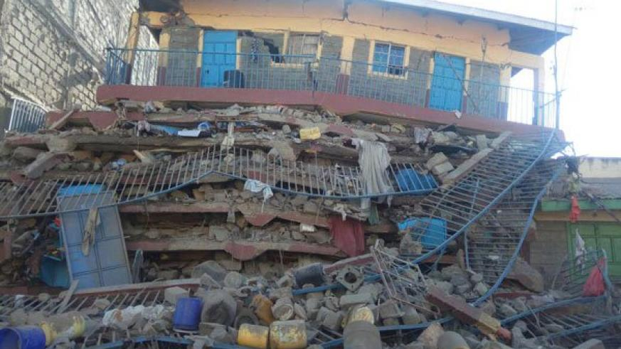 The residential building that collapsed in Kware, Embakasi. / Internet photo