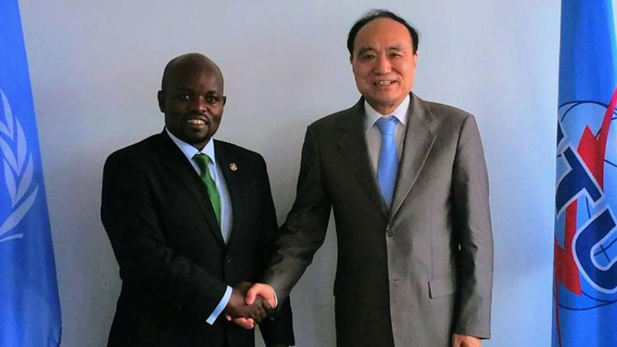 Youth and ICT minister,  Jean Philbert Nsengimana (L) and Houlin Zhao, the Secretary-General of the International Telecommunication Union in Geneva, Switzerland. (Courtesy)