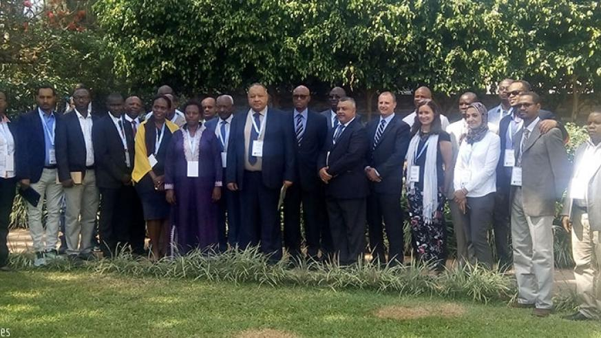 Regional Anti-Doping Executive Board members, who are in Kigali for the meeting, pose for a group photo.  (J. Muhinde)