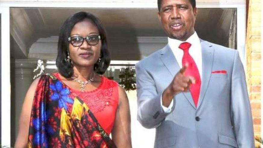 President Edgar Chagwa Lungu (right) shows the animals to Rwanda's High Commissioner to Zambia Monique Mukaruliza presented her letter of credence State House in Lusaka on Wednesday, June 14, 2017. Picture by Salim Hen.