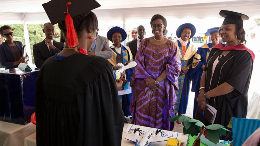 Mrs Kagame speaks to a graduate during the ceremony yesterday. Courtesy.