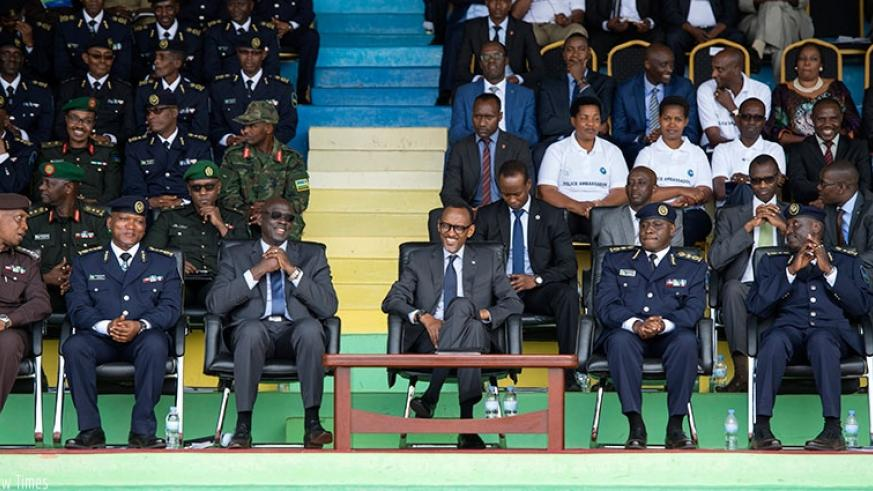 President Kagame and other officials at the celebrations to mark the 17th anniversary of the Rwanda National Police, which took place following the pass-out of officer cadets, at Stade de Kigali in Nyamirambo yesterday. The President called for continued cooperation between citizens and the Rwanda National Police given that peace and security have been the foundation of the progress and wellbeing achieved by Rwandans over the last few years. Village Urugwiro.