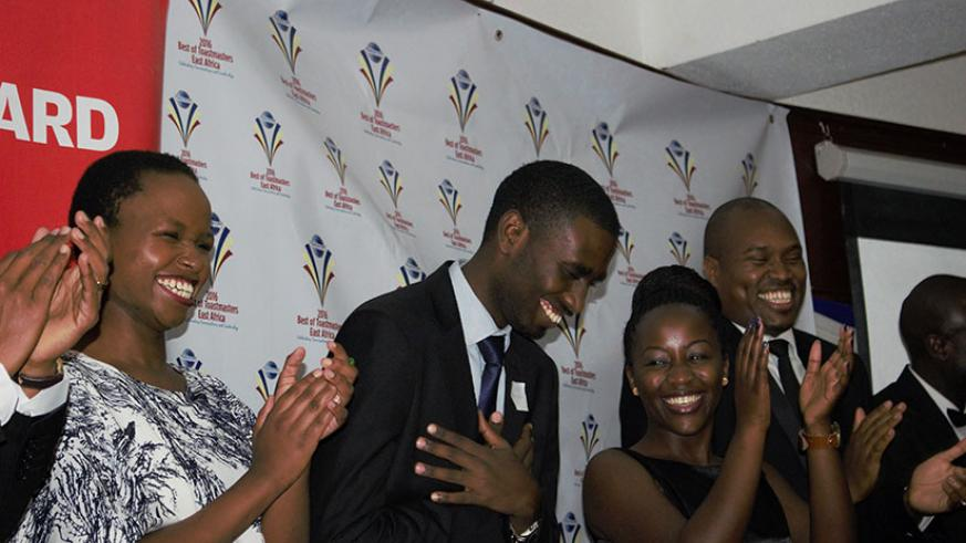 Joshua Tahinduka reacts after winning the Best of Toastmasters East Africa (BOTEA) contest in Nairobi last year.