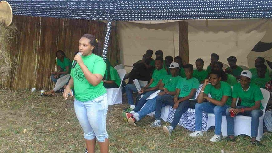 A student leader at Green Hills Academy addresses her colleagues at a school function.  (Photo by Lydia Atieno)
