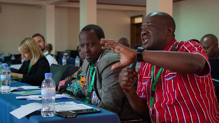 A participant contributes during of The Science Agenda session yesterday. (N. Imbabazi)