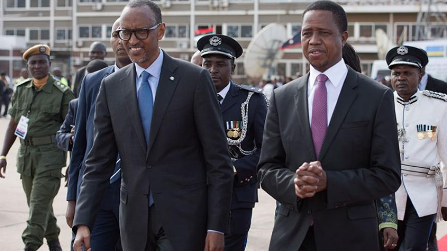 President Kagame is seen off from Kenneth Kaunda airport by President Edgar Lungu of Zambia yesterday. The visit, which was at the invitation of his counterpart President Lungu,was....