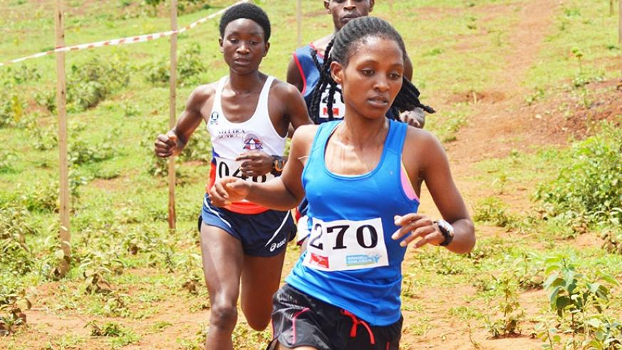 Nyirarukundo, captured here competing in a Cross Country race in Bugesera last year, is currently training in Kenya ahead of the IAAF World Championships. (S. Ngendahimana)