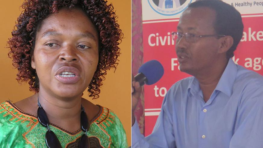 Muneza (L) speaks to the media about the campaign. Right, Dr Woldesemayat at the meeting. / Eddie Nsabimana