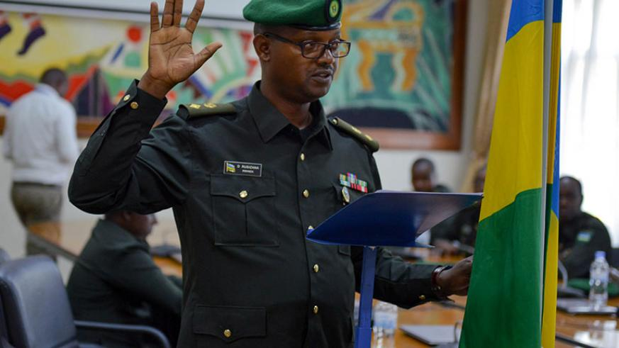 Lt. Col Deo Rusizana swears in as vice-president at Miliutary Tribunal. (Courtesy)