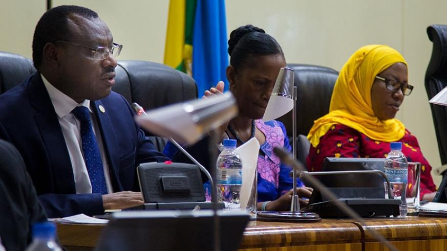Minister Gatete answers MPs' questions after his presentation early this month. (File)