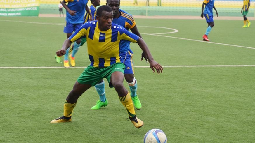 Janvier Cyubahiro of AS Kigali (foreground) tries to go past an Amagaju defender during a past league match. Amagaju eliminated AS Kigali from the Peace Cup. INSET: Amagaju FC head....