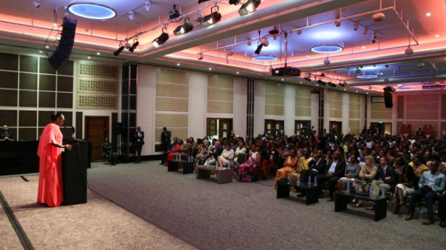 First Lady addresses the Rwandan Women and Youth Empowerment Conference in London yesterday. / Courtesy