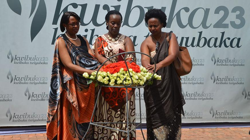 (L-R): The World Health Organisation regional director for Africa Dr Moeti, Dr Diane Gashumba and Dr Jeannine Condo lay a wreath at Kigali Genocide Memorial. / Sam Ngendahimana