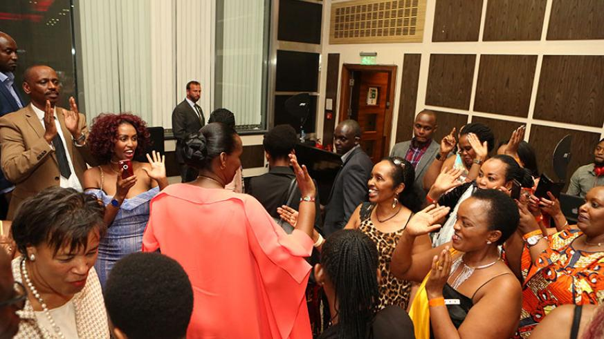 First Lady Jeannette Kagame greets guests at the function. / Courtesy