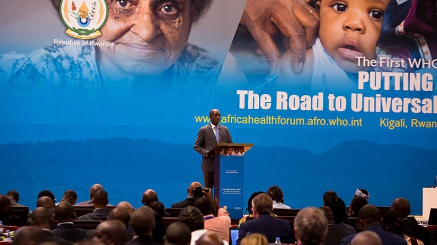 Prime Minister Anastase Murekezi gives his opening remarks during the inaugural Africa Health Forum of the World Health Organisation in Kigali yesterday. (Photos by Timothy Kisambira)
