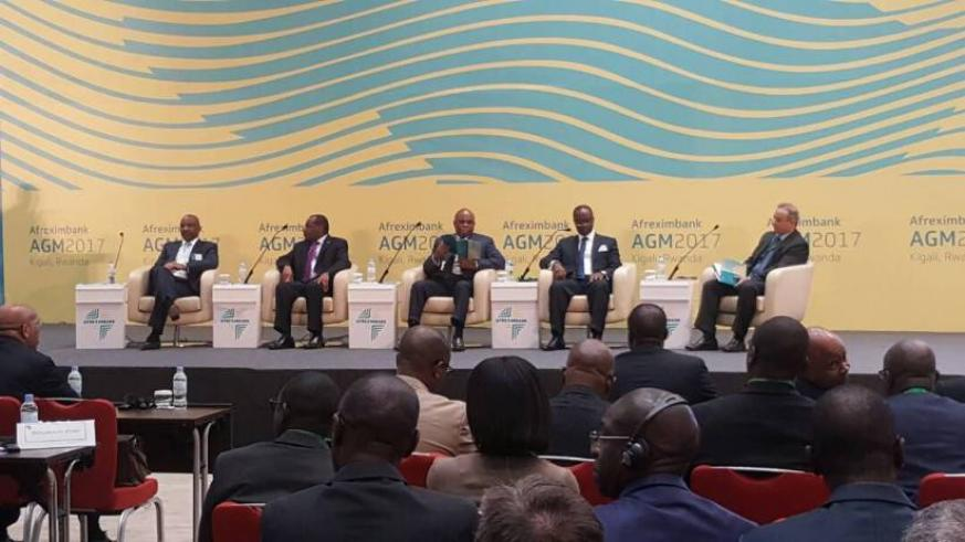 Minister of Finance, Claver Gatete (2nd left), is joined by Afrexim leadership at the opening of Afreximbank Annual General Meeting at Kigali Convention Centre today. (Courtesy)